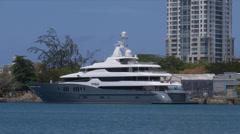 Superyacht mega yatch luxury ship Titan Stock Footage