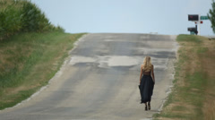 Girl Walking on Route Stock Footage