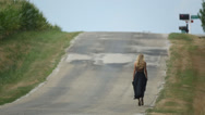 Stock Video Footage of Girl Walking on Route