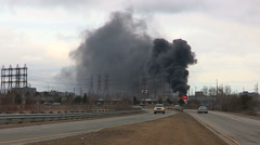 massive electrical transformer station explosion and fire in city - stock footage