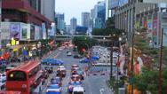 Stock Video Footage of Singapore street Chinatown busy bustle traffic at dusk