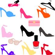 Stock Illustration of Nine high heels set