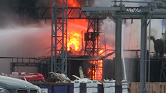 Electrical grid explosion and fire at transformer station Stock Footage