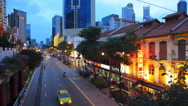 Stock Video Footage of T/L Singapore Chinatown busy bustle traffic at dusk