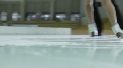 Figure skating ice skates on ice Stock Footage