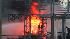 A massive electrical transformer station explosion and fire. Stock Footage