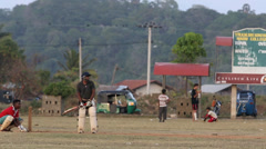 Cricket practice with batsmen facing several bowling deliveries Stock Footage