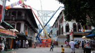 Stock Video Footage of Singapore Chinatown Renovation program under construction