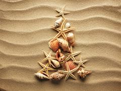 Sea shell on sand Stock Photos