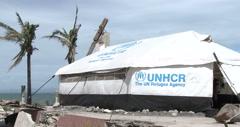 4K / HD Post Typhoon Haiyan Refugee UN Tent Stock Footage