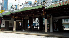 Singapore Chinatown Thian Hock Keng Temple Stock Footage