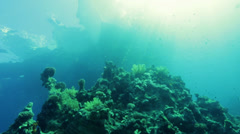 Rays of the sun through the sea view from above Stock Footage