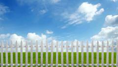 Fence on Grass Sky Stock Footage