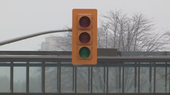 Power outage and traffic lights out in ice storm Stock Footage