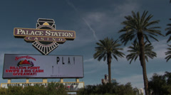 Palace Station Casino Sign & Trees Stock Footage