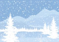 Winter mountain landscape with fir trees - stock illustration
