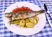 Stock Photo of grilled rainbow trout with red pepper, potato and rosemary