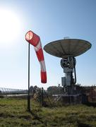 Vane and satellite antenna in airport Stock Photos