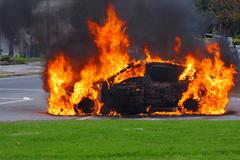 Car in flames. Advanced stage of a fire Stock Photos