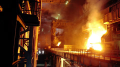 Blast Furnace Melting Metal During Stock Footage