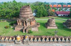 top view wat yai chaimongkhon - stock photo