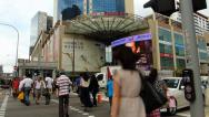 Stock Video Footage of Singapore Chinatown intersection traffic commuters zebra cross