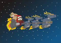 Christmas Sarja: Santa hänen hirvieläinten kelkka Piirros