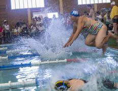 Start of senior citizens swim competition - stock photo
