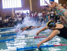 Start of senior citizens swim competition Stock Photos