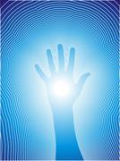 Stock Illustration of Healing hand with reiki lines