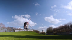 Beautiful wooden wind mill Brugge, Belgium. Time lapse. Stock Footage