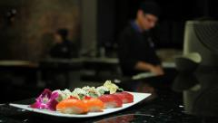 Fresh fish sushi seafood chef Stock Footage