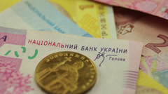 Closeup ukrainian money Stock Footage