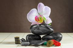 instruments and accessories for acupuncture. - stock photo