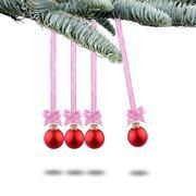 red christmas balls new years and newton pendulum - stock photo