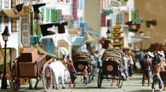 Singapore Miniature of early days of Chinese in Chinatown Stock Footage