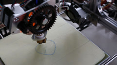 Printing plastic model with plastic wire filament on 3d printer Stock Footage