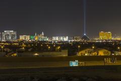 las vegas skyline night - stock photo