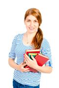 portrait of a young student with the literature - stock photo