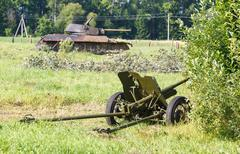 Disguised Soviet field gun 45mm Stock Photos