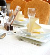 decorated table in restaurant waiting for two person - stock photo