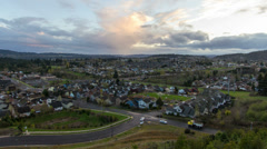 View of Suburban Homes and Living in Happy Valley Oregon at Colorful Sunset Stock Footage