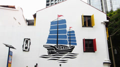 Singapore Chinatown Chinese Junk fishing boat Wall painting Stock Footage