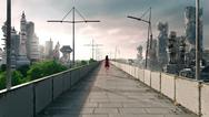 Stock Illustration of Apocalyptic concept background of futuristic and destroyed city