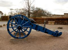 blue, old cannon in st. petersberg citadel barracks - stock photo