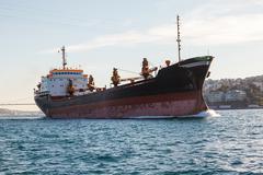 large ship tanker proceeding along the Bosphorus - stock photo