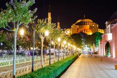 Hagia Sophia and the alley with lanterns - stock photo