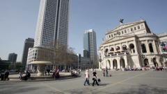 Dynamic camera shot of Opernplatz Frankfurt, Germany Stock Footage