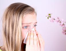 Girl blows her nose with handkerchief and cherry blossoms Stock Photos