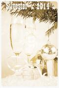 retro postcard - two champagne glass, gift, christmas, tree with ball - stock illustration